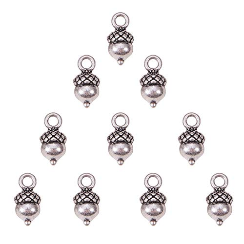 SUNNYCLUE 1 Box 10pcs Thai Sterling Silver Plated Alloy 3D Pineal Fruit Acorn Nut Charms Pendants 14x7mm for DIY Crafting Bracelet Necklace Jewelry Making Findings Accessories, Matte Silver