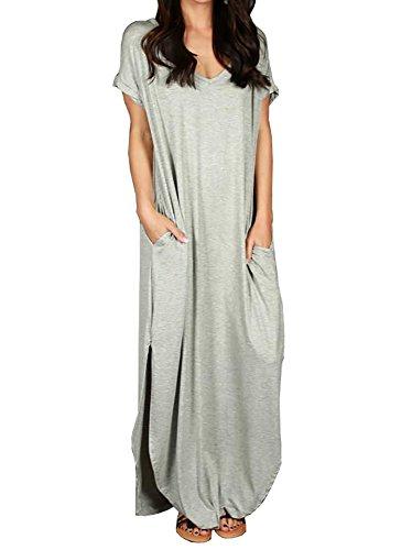 Lovaru Womens Plus Size Dresses Boho Short Sleeve Slit Side Loose Maxi Dress with Pockets for Beach