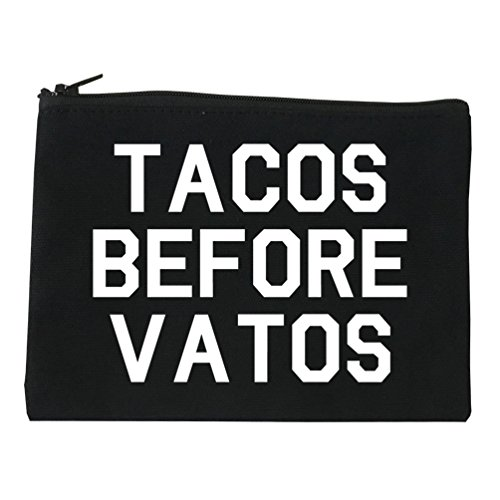 Tacos Before Vatos Funny Cosmetic Makeup Bag Black Large