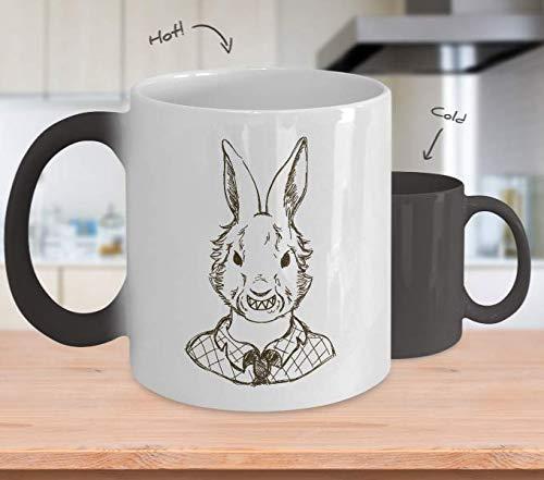 (Color Changing Mug Scary Bunny Halloween Costume Heat Colour Change Mug Gift Heat Sensitive Funny)