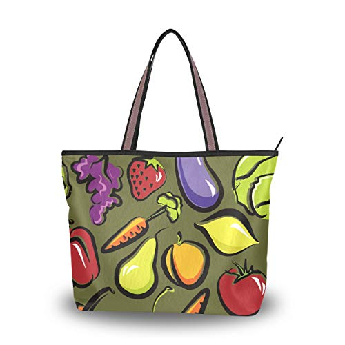 Brighter Funny Fruit And Vegetables Dish Women's Tote Bag Hand Bags Shoulder Bags for Ladies Girls