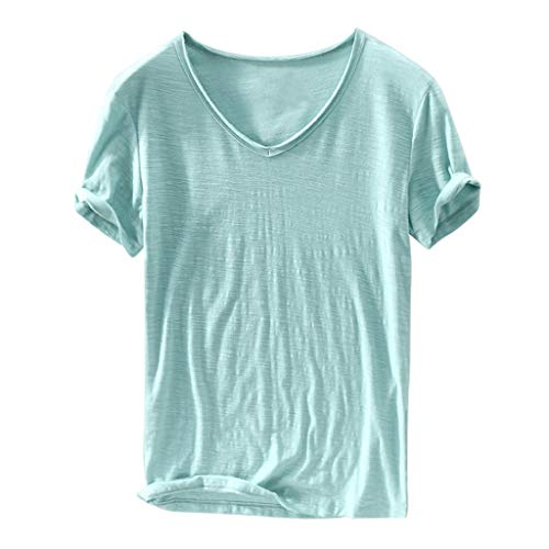 (kaifongfu Tops for Mens Summer Tee Solid Color V-Neck Short Sleeve Blouse Slim Fit Casual Shirt Top(Green,M))