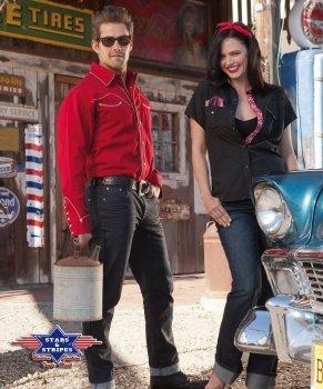Stars & Stripes Westernhemd Jack red, Farbe: rot, Gr. L - Large