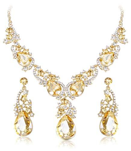(ORAZIO Crystal Wedding Bridal Jewelry Set for Women Rhinestone Necklace Dangle Earring Bracelet for Bride Bridemaids)