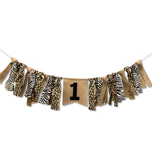 FCLANDING 1st Birthday Decorations,Baby Boy's First Birthday Banner, Wild Leopard Tough Boy Burlap Highchair Banner for 1st Birthday boy Decorations -