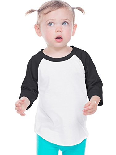 Kavio! Infant Jersey Contrast Raglan 3/4 Sleeve White/Black 18M (Infant Baseball Shirt)