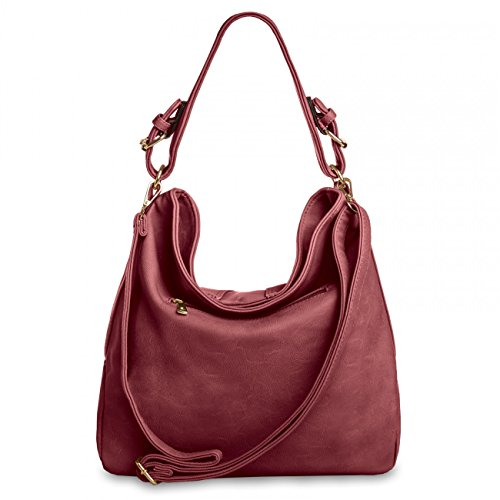 CASPAR Fashion - Bolso cruzados para mujer Rojo - borgoña