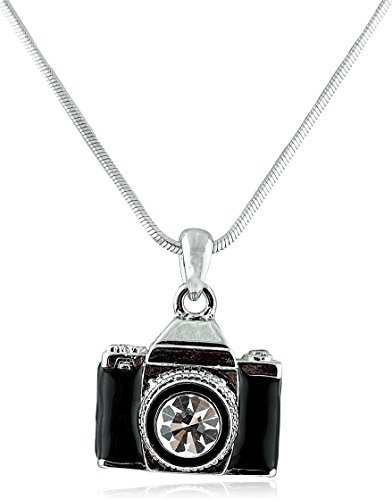 Silvertone & Black Camera with Center Stone Lens Style with an 18 Inch Snake Franco Chain Necklace - Pendant Camera Necklace