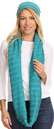 Sakkas 16141 - Sayla Rhinestone Jewel Soft Warm Woven Cable Knit Beanie Hat And Scarf Set - Teal - OS (Woven Jewel)