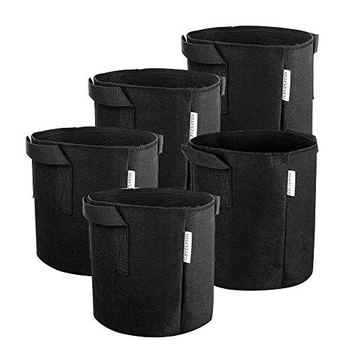 MELONFARM 5-Pack 1 Gallon Plant Grow Bags - Smart Thickened Non-Woven Aeration Fabric Pots Container with Strap Handles for Nursery Garden and Planting