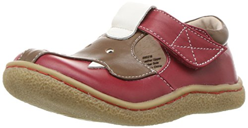 Livie & Luca Girls' Elephant Monk-Strap Loafer, red, 4 M US Toddler