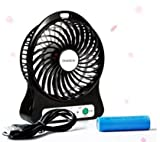 Portable Fan, mini usb Portable Rechargeable fans Mini USB Electric Fans 3 Speeds Desktop Fan Battery/ USB Powered for Traveling,Fishing,Camping,Hiking,Backpacking,BBQ,,Picnic,Biking,Boating (Black)