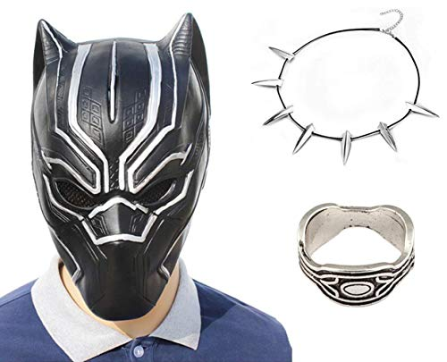 3Pack New Black Panther Movie Mask Halloween Costume with Necklace and Ring -