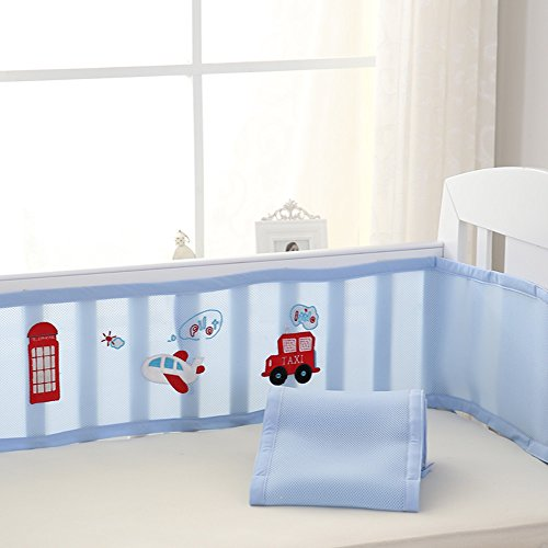 Bumper Soft Crib Liner Cartoon Embroidered (SkyBlue) ()