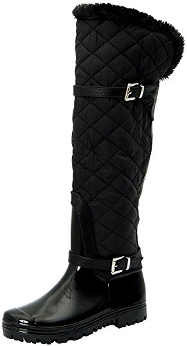 Round Waterproof Shape Toe Boot Mid Carrie Black 66 Women's DEV Snow Deck Strap Diamond Forever Fur Calf Shoes Warm Deco 7WXZWnPqA