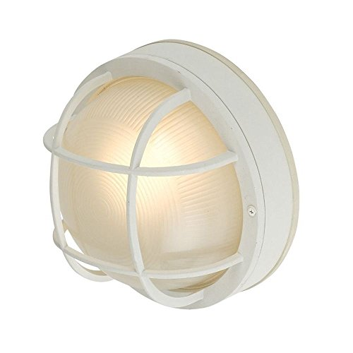 Round LED Bulkhead Light with Ribbed Glass 10-Inches Wide ()