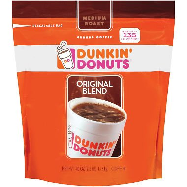 Dunkin' Donuts Original Medium Roast Blend Coffee, 4Pack (40oz Each) Thklws