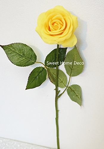 Sweet Home Deco 17'' Real Touch Rose Artificial Single Spray Set of 2 (Yellow) - Two Yellow Roses