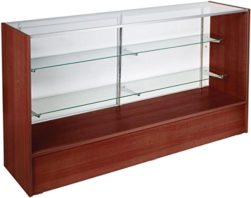 Free-Standing Glass Display Case with Cherry Finish Melamine Base, Includes Sliding Rear Doors – 6 Feet Wide