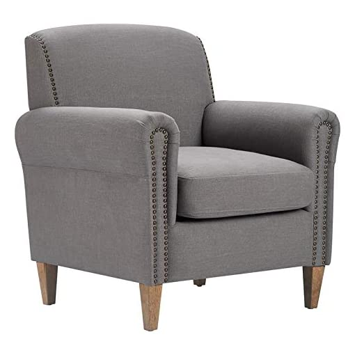 Farmhouse Accent Chairs Finch Elmhurst Mid Century Upholstered Armchair, Chair for Living Room with Brass Nailhead Accents, Solid Wood Legs… farmhouse accent chairs