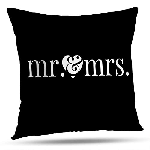 KJONG Mr-Mrs Square Decorative Pillow Case 18 x 18 Inch Pillow Cover for Bedroom Living Room Elegant Word Art Overlay Graphic Mr and Mrs Bride 2 Sides Print