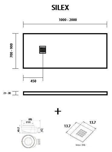Taglia SILEX-Piatto Doccia Extra Piatto Bianco Ral 9003 75X130 Colore Bianco