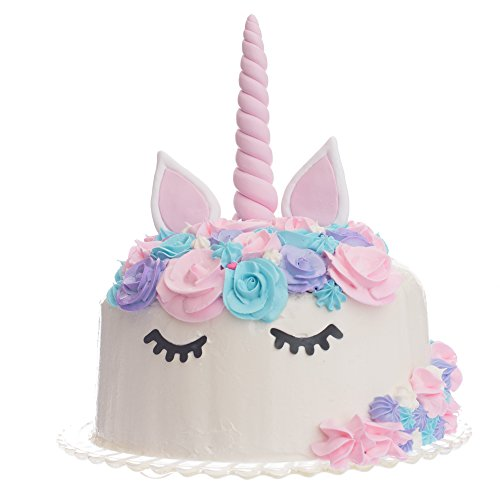 Quokkaloco Unicorn Cake Topper - Handmade Horn, Ears & Eyelashes - Birthday Party, Wedding, Shower - Cake Decorating Set - Reusable 3D (Pink)