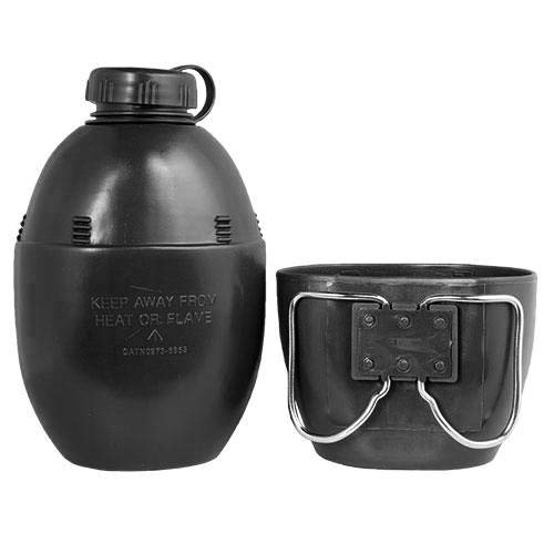 British Army Style Water Bottle and Mug Set (Black)