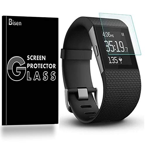 [3-Pack BISEN] Fit for Fitbit Surge Screen Protector Tempered Glass, Anti-Scratch, Anti-Fingerprint, Anti-Bubble, Lifetime Protection ()
