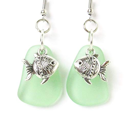 Dainty Gold Fish Sea Glass Earrings Beach Jewelry