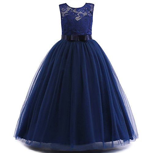 Glamulice Girls Lace Bridesmaid Dress Long A Line Wedding Pageant Dresses Tulle Party Gown Age 3-16Y (15-16Y, O-Navy Blue)