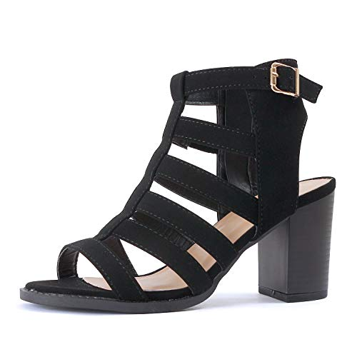 Black Womens Casual Heels - Guilty Shoes - Lemie-8 Black Pu, 5