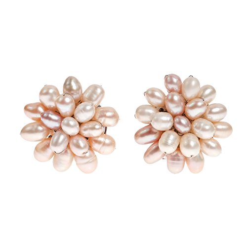 (Sweet Cultured Freshwater Pink Pearl Cluster Clip On Earrings )