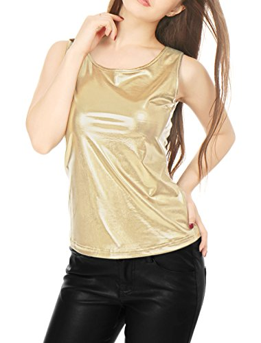 Allegra K Women's Sleeveless U Neck Fashion Metallic Tank Top Gold - Gold Top Womens Tank