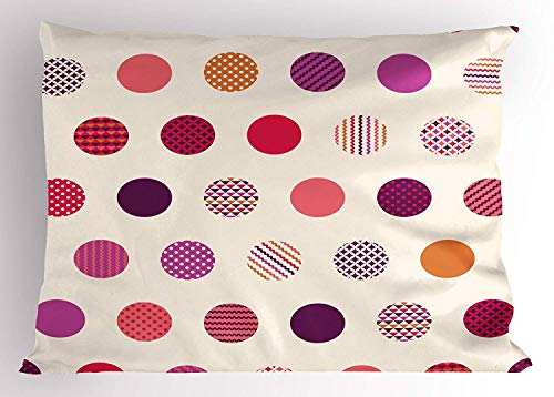 (K0k2t0 Polka Dot Pillow Sham, Traditional Spots Pattern with Various Designs Rhombuses Chevron and Circles, Decorative Standard Queen Size Printed Pillowcase, 30 X 20 inches, Multicolor)