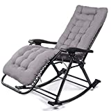 Folding Rocking Chair with Pad Heavy Duty, Outdoor Portable Zero Gravity Chairs for Camping Fishing Beach Outdoor, 150kg