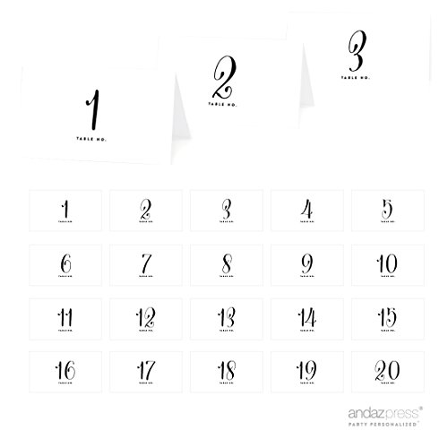 Andaz Press Table Tent Place Cards on Perforated Paper, Formal Black and White, Table Numbers 1 - 20 Collection, 1-Set, Placecards Table Settings for use with Charger Plates and Place Card Holders, Catering, Food, Dessert Table Tent Cards