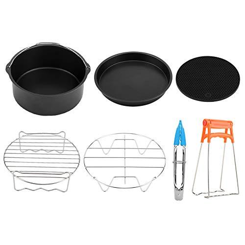 Fryer Accessories Set, 7 in 1 Air Fryer Accessories Set Kit Parts Metal Holder Skewer Rack Cake Barrel(Black)