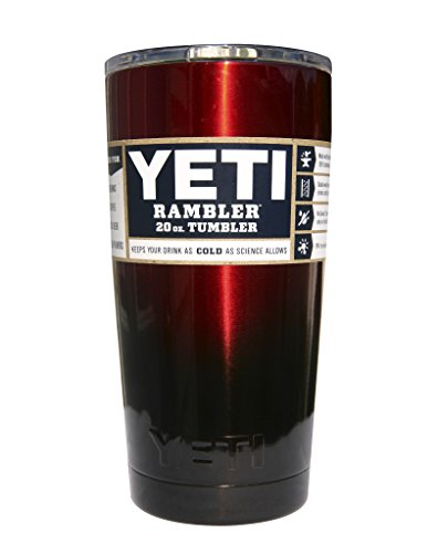YETI Coolers Custom Powder Coated Insulated Stainless Steel 20 Ounce (20 oz) (20oz) Rambler Tumbler with Lid (Red Black Ombre)