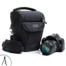Professional Digital SLR Camera Case Sleeve Pouch Carrying Bag with Shoulder Stra – Works with Nikon D3300 D3400 D7100 D5500 D5300 Canon Rebel T5i T5 T6 Neewer BG-E8 Canon EOS 1300D Pentax K-50 and more - Includes Mini Tripod