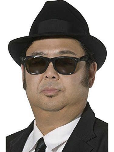 [Smiffy's Brothers Men's Fedora Hat - Blue/black] (Blues Brothers Costume Hat)