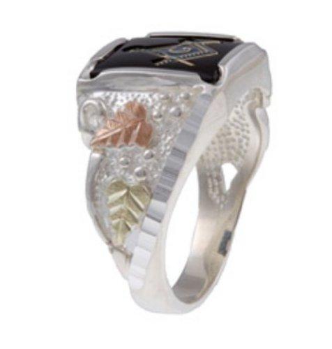 Onyx Free Mason's Signet Ring, Sterling Silver, 12k Green Gold, 12k Rose Gold Black Hills Gold Motif, Size 11