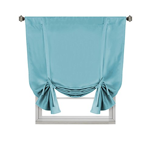 H.VERSAILTEX Thermal Insulated Blackout Tie Up Curtain Adjustable Window Shade for Living Room, Rod Pocket 1 Panel, 42 x 63 Inch Long - Solid in Aqua ()