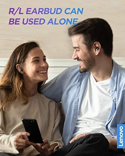 Lenovo True Wireless Earbuds Bluetooth 5.0 IPX5 Waterproof with USB-C Quick Charge and Built-in Microphone for Work/Travel/Gym (Black)