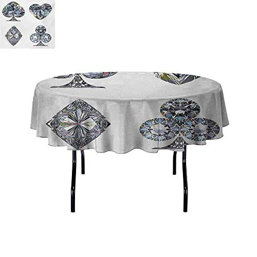 GloriaJohnson Diamond+Anti-Wrinkle+and+Anti-Wrinkle+Polyester+Playing+Cards+Diamonds+Hearts+Clubs+Spades+Casino+Theme+Charm+Art+Graphic+Design+for+Weddings/banquets+D59+Inch+White+Silver+
