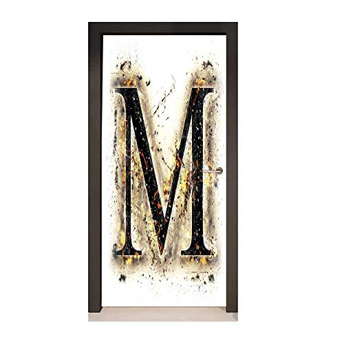Homesonne Letter M Door Decal Language Writing School Themed Name Initials in Fire Background Steamy Print Door Creative Decoration Tan Black Orange,W23xH70 (Different Names For Grandma In Different Languages)