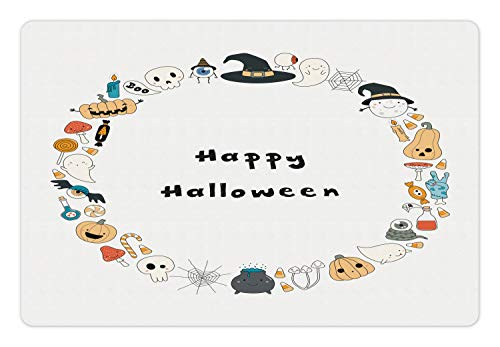 Ambesonne Halloween Pet Mat for Food and Water, Happy Halloween Spooky Theme Pumpkin Ghosts Spider Web Line Drawing Circle Frame, Rectangle Non-Slip Rubber Mat for Dogs and Cats, Multicolor -