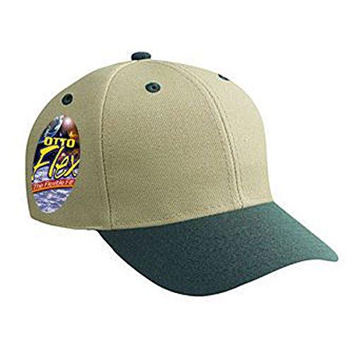 (Product of Ottocap Stretchable Wool Blend Twill, Six Panel Low Profile Baseball Cap -Dk.GRN/KHA, L/XL [Wholesale Price on Bulk])