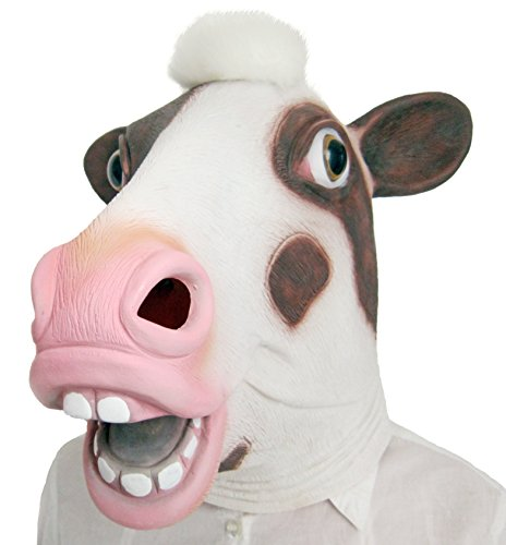 Aqkilo Cow mask Latex Animal Head mask Halloween Costume(Pink)