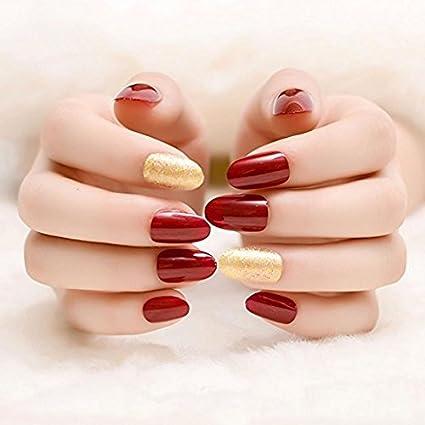 Yunai falsas uñas – 24 pcs/Set francés completo uñas redondo cabeza suave textura uñas